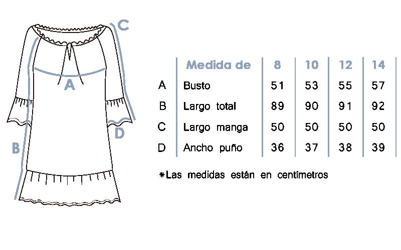 vestido bohemio manga acampanada 8535
